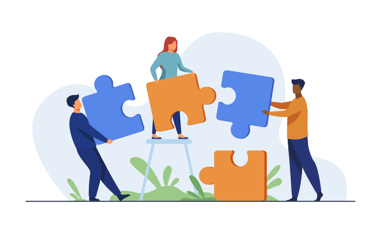 illustration 3 people putting large puzzle pieces together